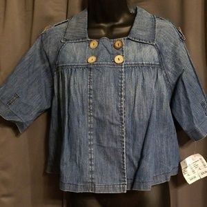 Monteau cropped denim jacket size L